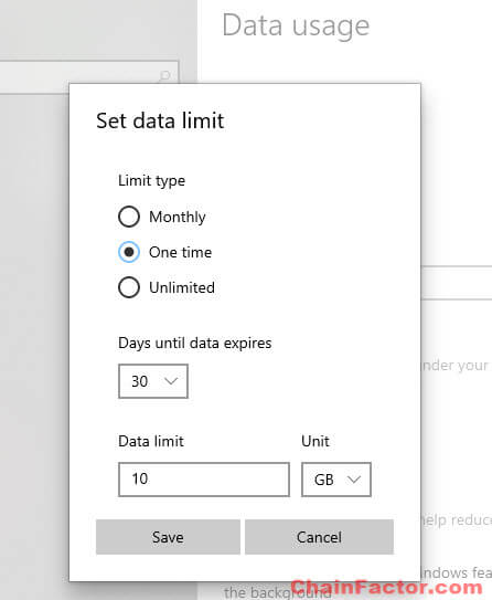 How to limit data in Windows 10