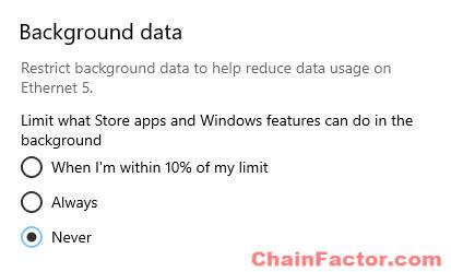 Limit background data usage Windows 10